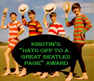 Kristin's 'Hats Off To A Great Beatles Page' Award